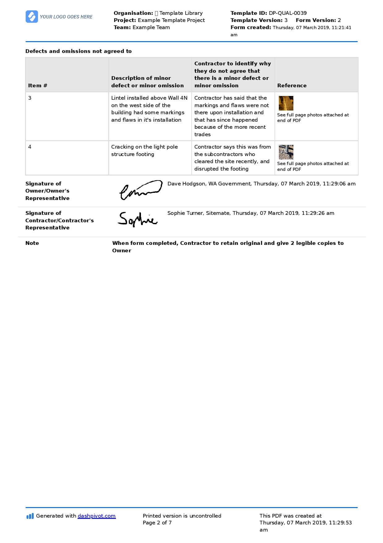 Letter To Contractor For Defective Work: Sample Letter And For Construction Deficiency Report Template