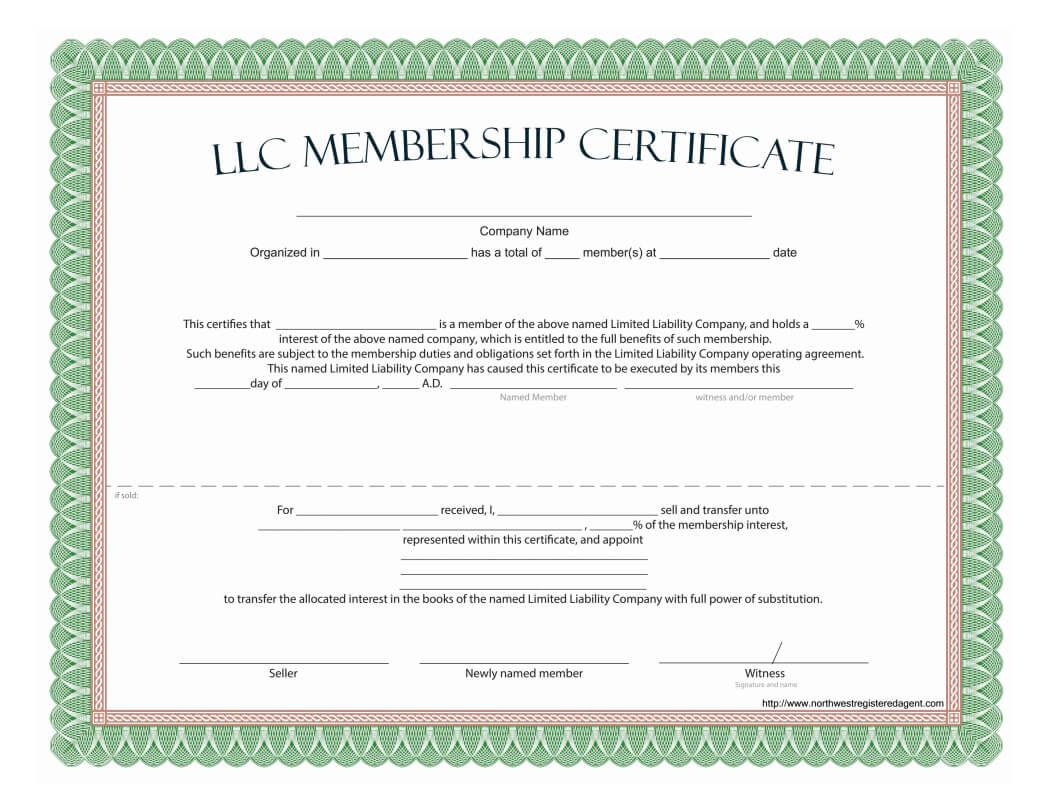 Llc Membership Certificate - Free Template Throughout Llc Membership Certificate Template
