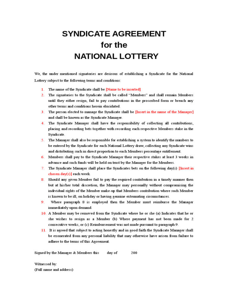 Lottery Syndicate Agreement Form - 6 Free Templates In Pdf Regarding Lottery Syndicate Agreement Template Word