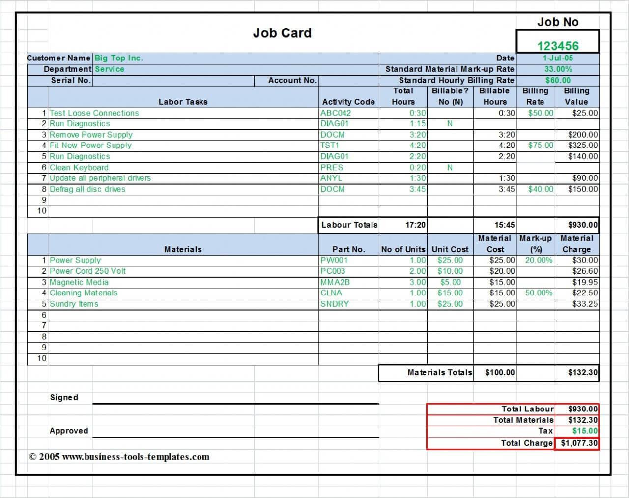Maintenance Repair Job Card Template - Microsoft Excel Intended For Job Card Template Mechanic