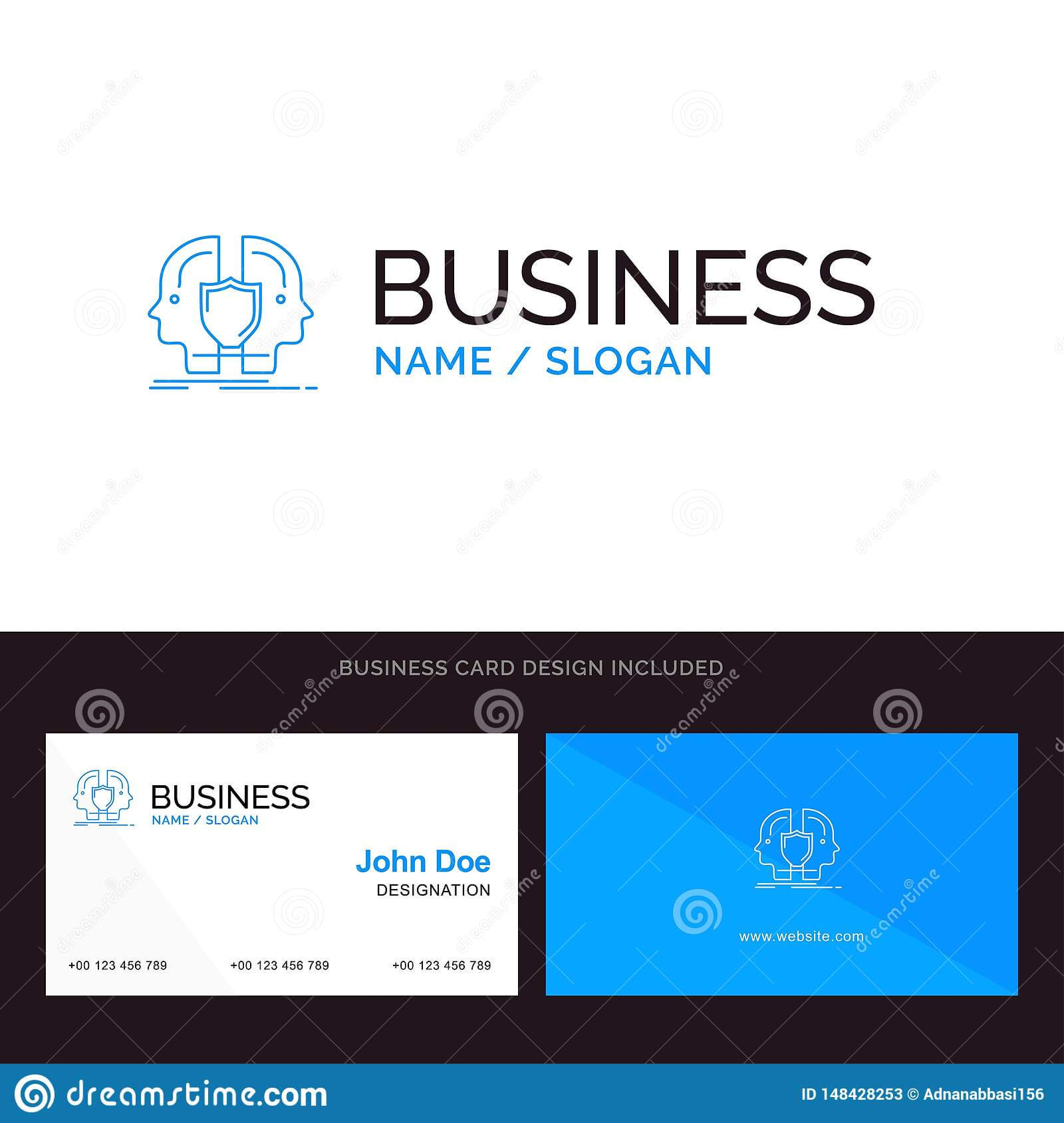 Man, Face, Dual, Identity, Shield Blue Business Logo And With Shield Id Card Template