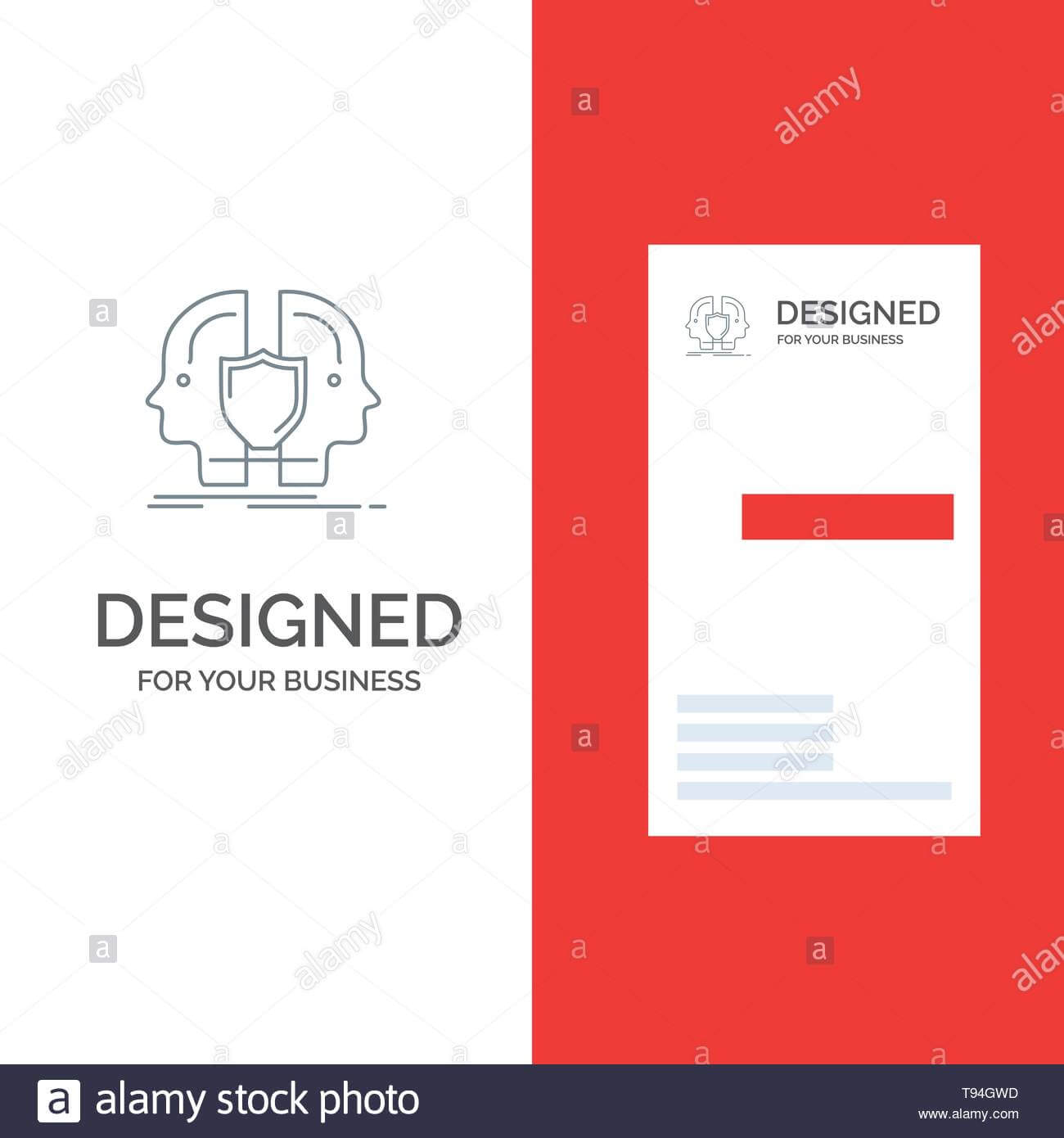 Man, Face, Dual, Identity, Shield Grey Logo Design And Intended For Shield Id Card Template