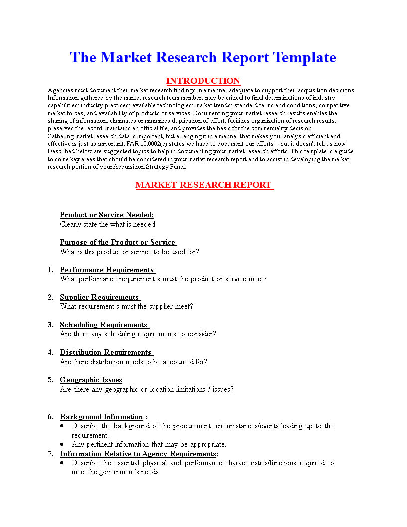 Market Research Report Format | Templates At Within Research Report Sample Template