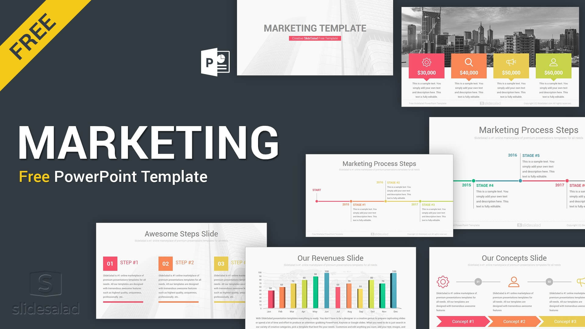 Marketing Free Download Powerpoint Template Slides – Slidesalad Throughout Powerpoint Sample Templates Free Download