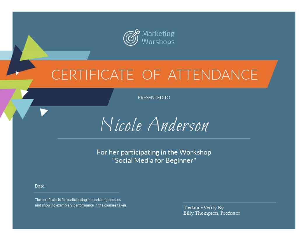 Marketing Workshop - Certificate Template - Visme With Regard To Workshop Certificate Template