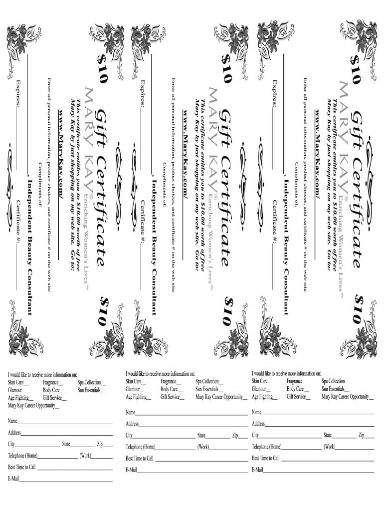 Mary Kay Gift Certificate - Fill Online, Printable, Fillable Throughout Mary Kay Gift Certificate Template