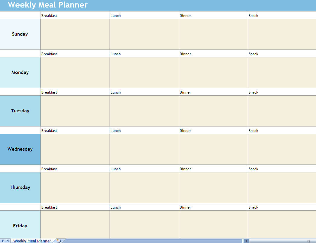 Meal Planning Chart Excel – Bigit.karikaturize For Weekly Meal Planner Template Word