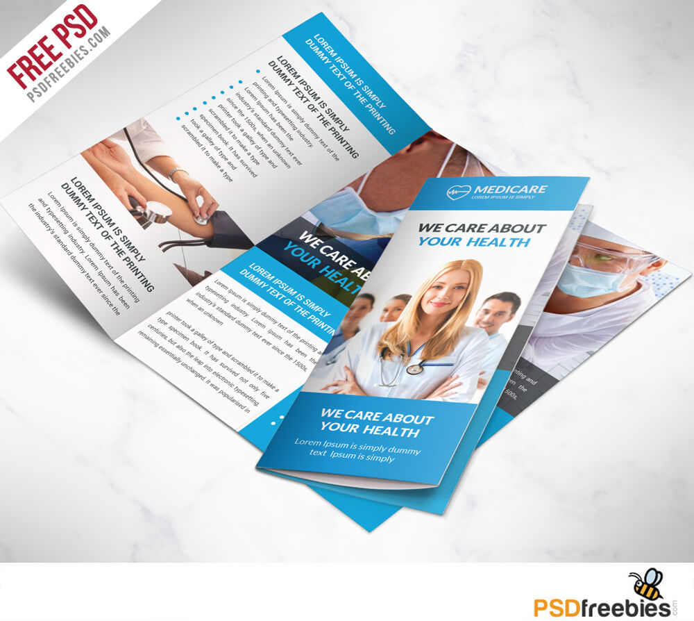 Medical Care And Hospital Trifold Brochure Template Free Psd With Medical Office Brochure Templates