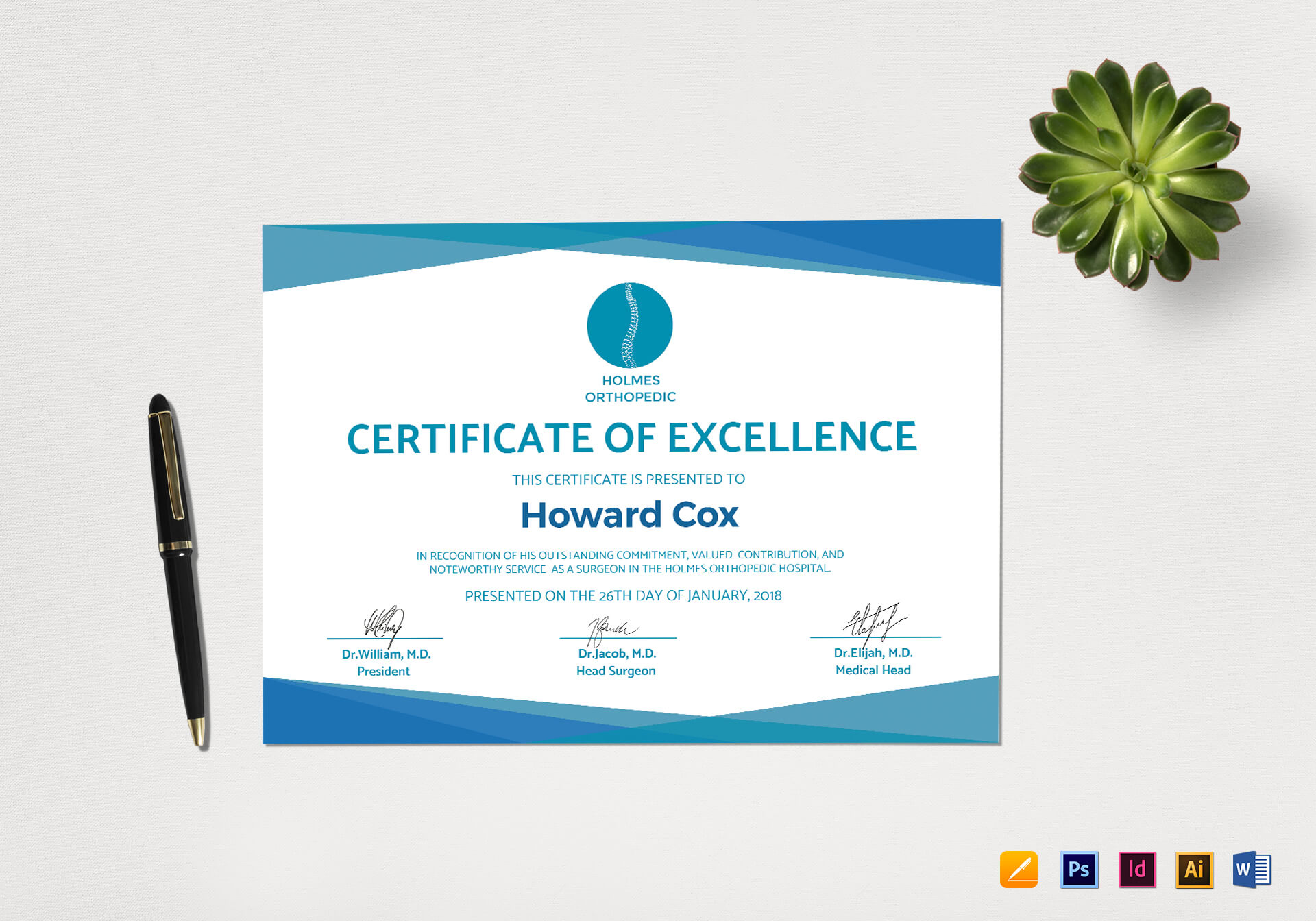 Medical Excellence Certificate Template In Indesign Certificate Template