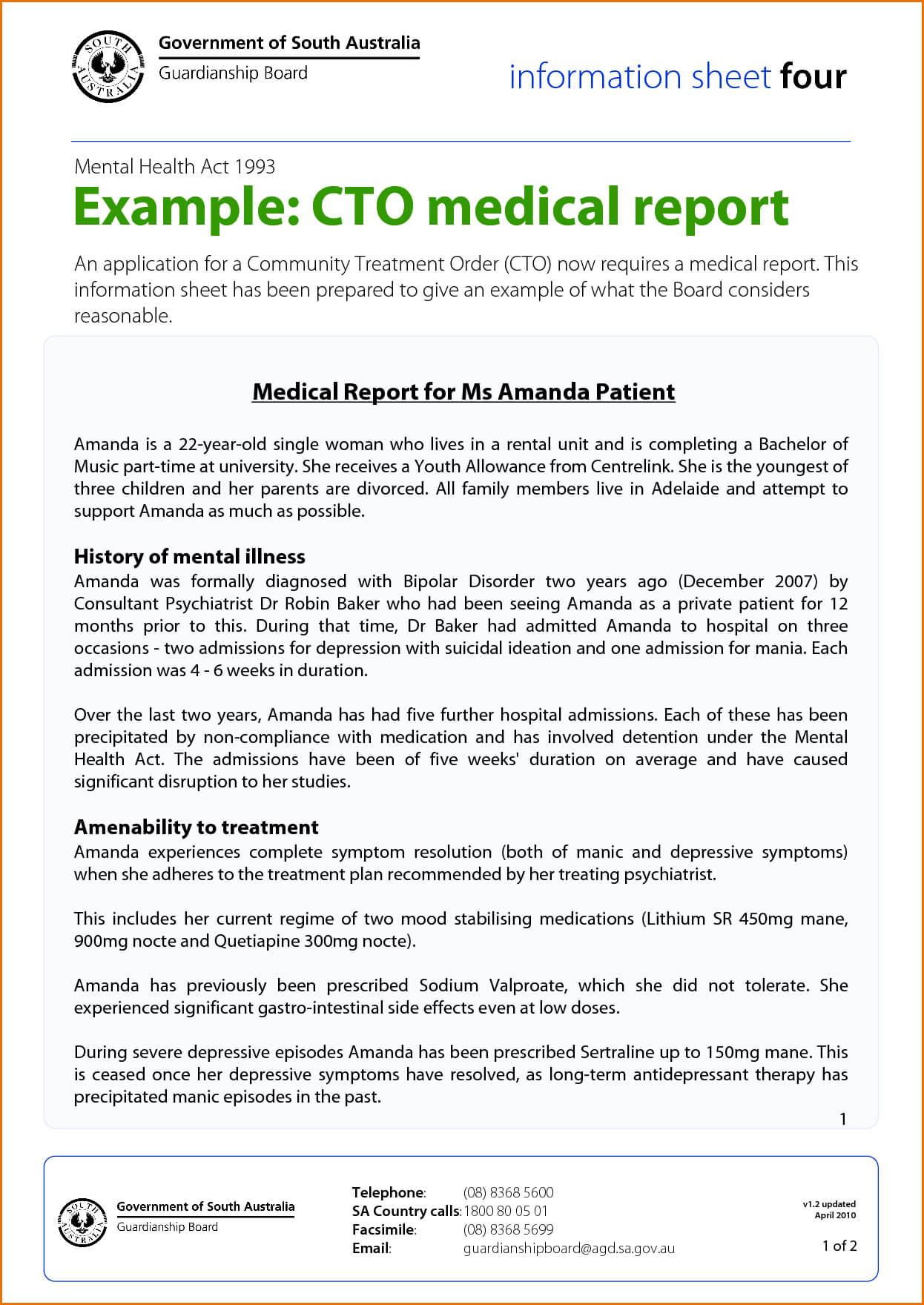 Medical Report Template Doc - Yatay.horizonconsulting.co With Medical Report Template Doc