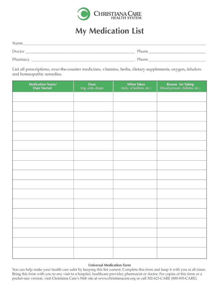 Medication List Form - Fill Online, Printable, Fillable With Blank Medication List Templates