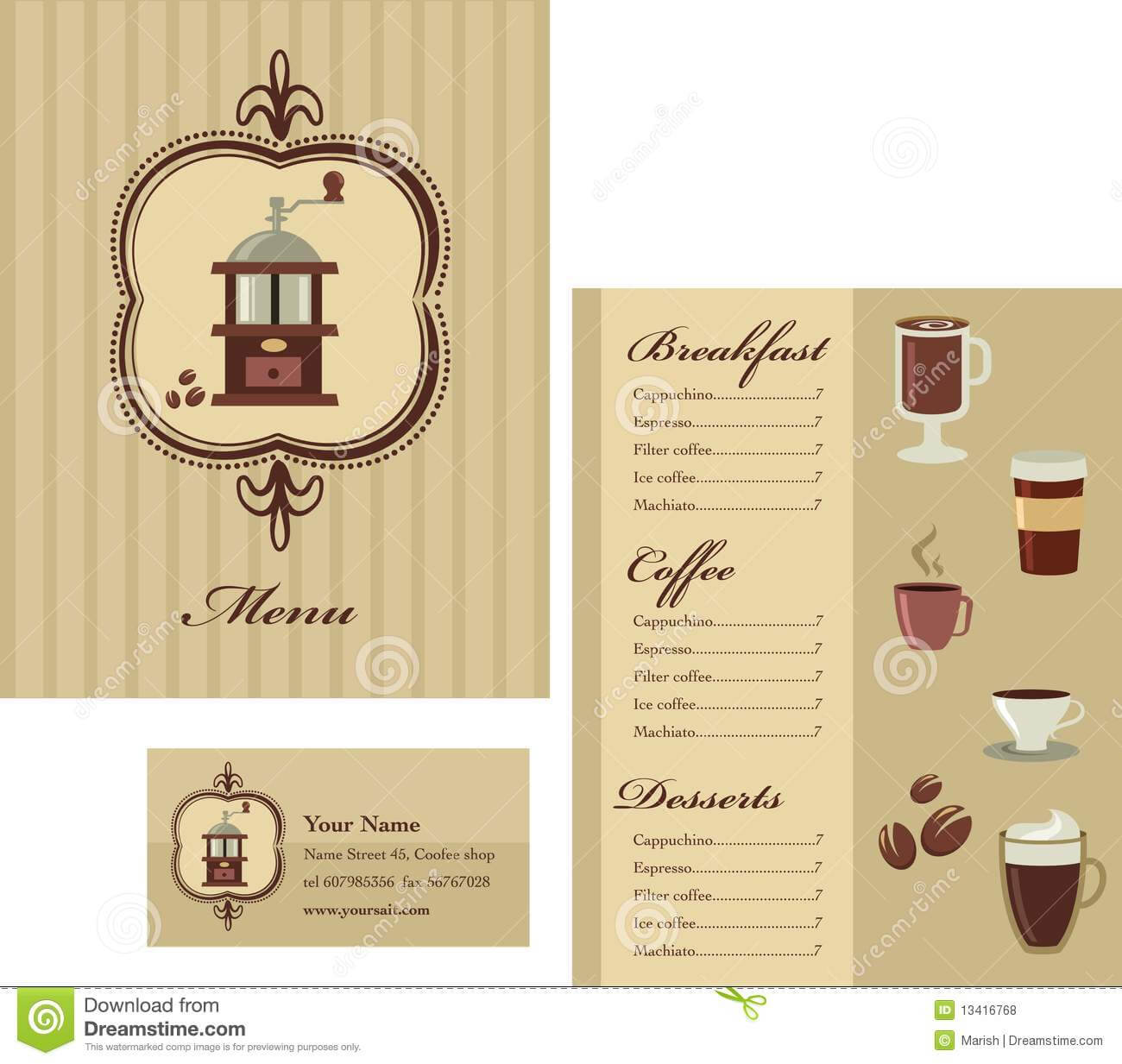 Menu And Business Card Template Design – Coffee Stock Vector Within Coffee Business Card Template Free