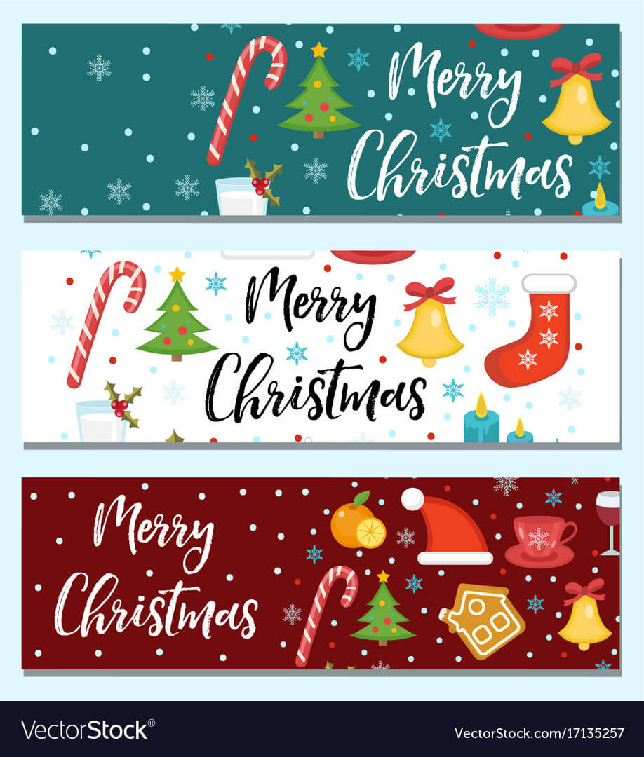 Merry Christmas Set Of Banners Template With For Merry Christmas Banner Template