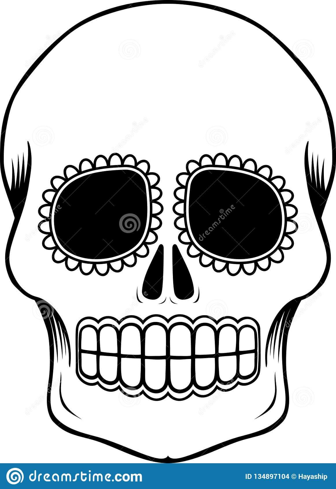 Mexican Sugar Skull Template Stock Vector - Illustration Of Pertaining To Blank Sugar Skull Template