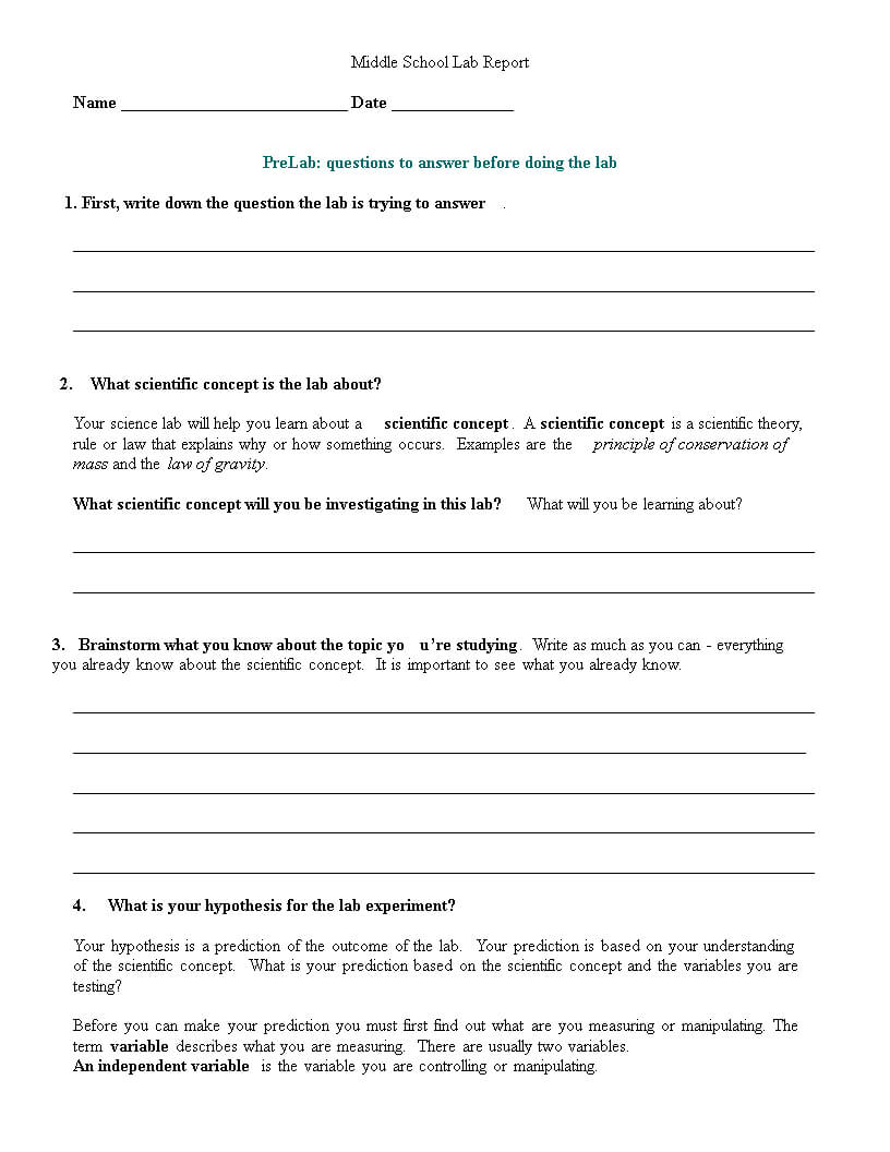 Middle School Lab Report | Templates At Pertaining To Lab Report Template Middle School