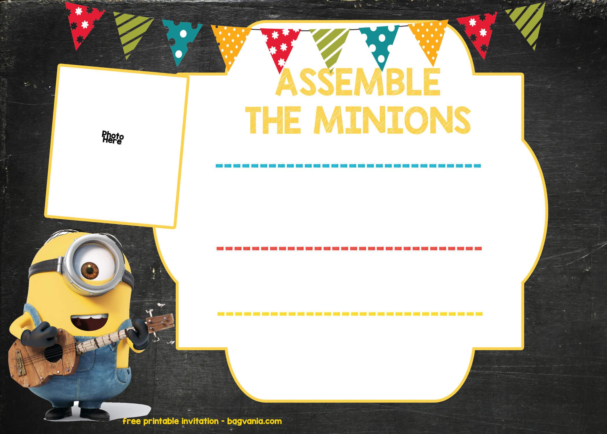Minions Birthday Invitation Online With Minion Card Template