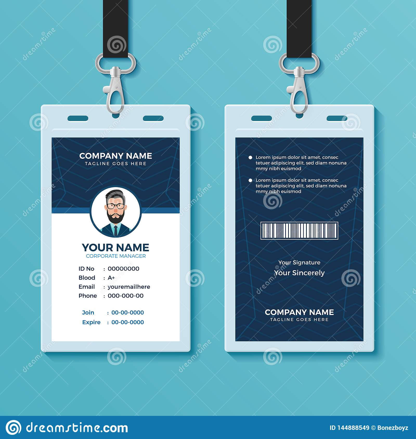 Modern And Clean Id Card Design Template Stock Vector With Conference Id Card Template