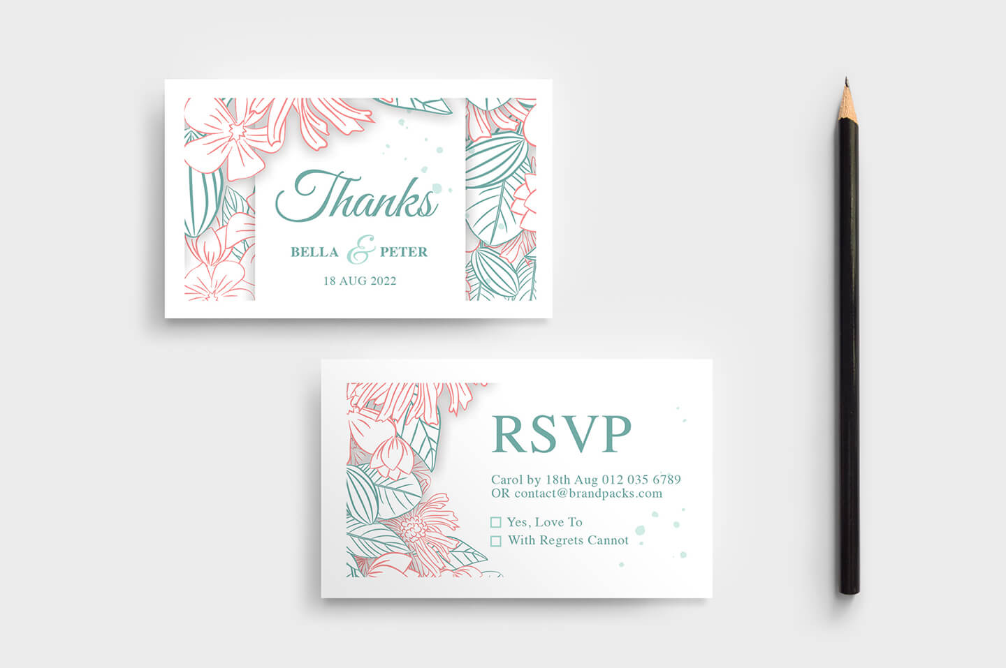 Modern Floral Wedding Rsvp Card Template – Brandpacks Within Free Printable Wedding Rsvp Card Templates