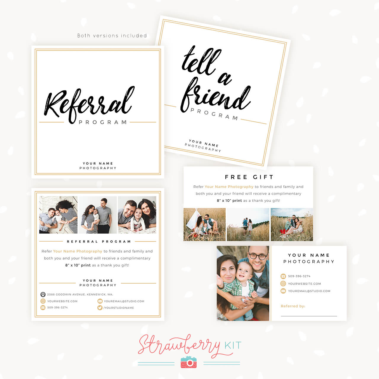 Modern Hand Lettering Referral Card Set - Strawberry Kit Intended For Photography Referral Card Templates