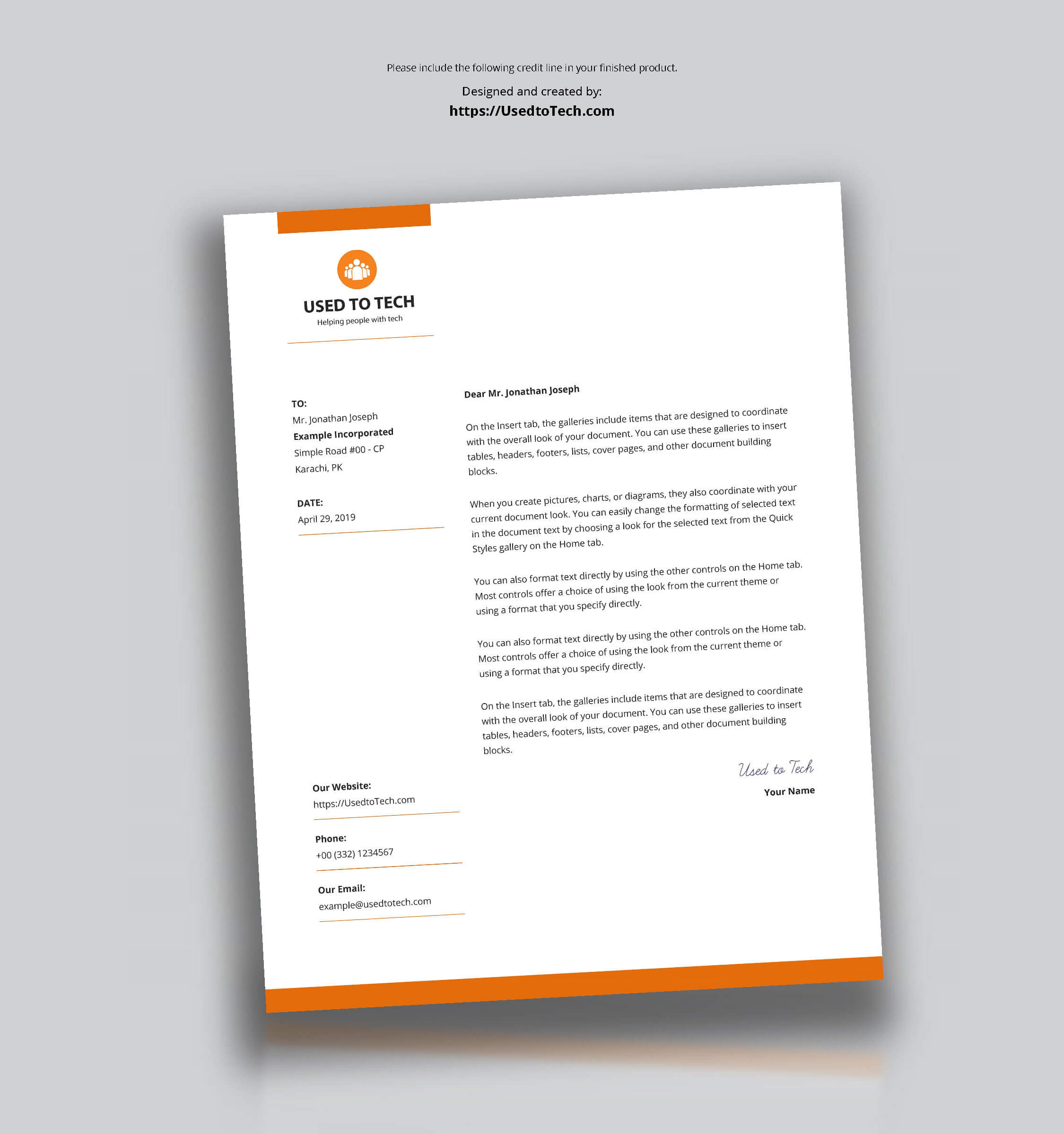 Modern Letterhead Template In Microsoft Word Free – Used To Tech Intended For Free Letterhead Templates For Microsoft Word