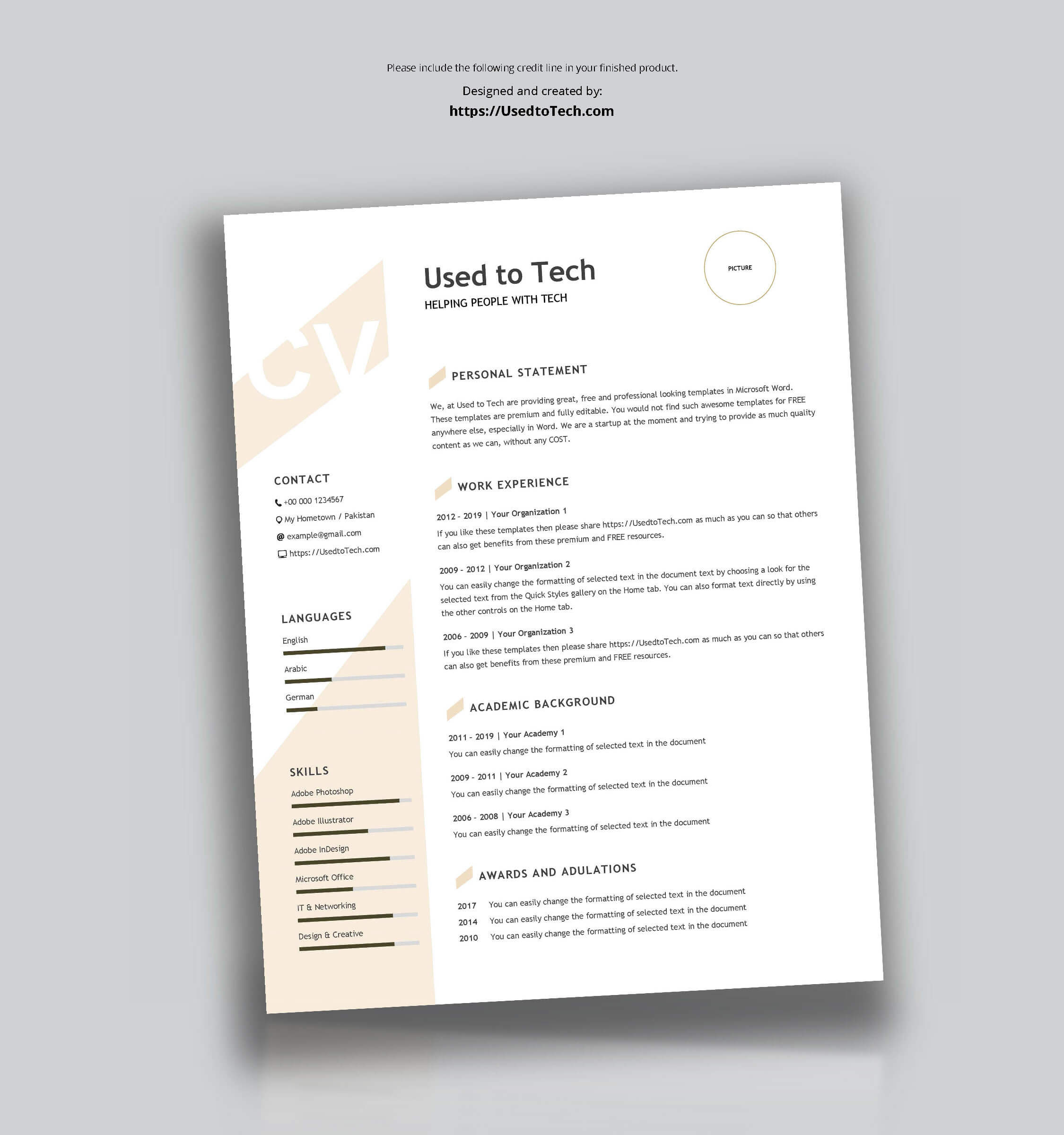 Modern Resume Template In Word Free - Used To Tech Within How To Get A Resume Template On Word