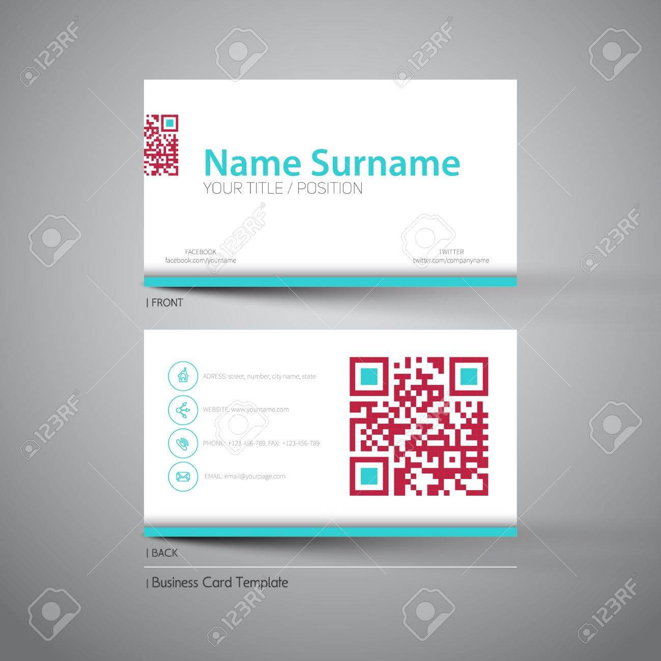 Modern Simple Light Business Card Template With Big Qr Code Pertaining To Qr Code Business Card Template