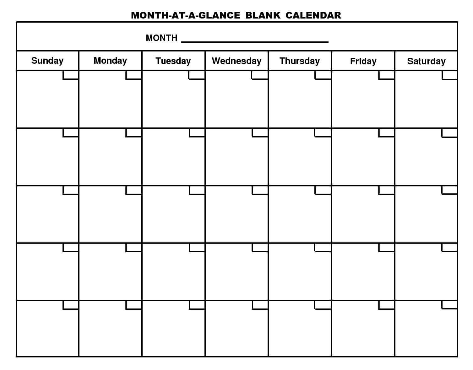 Month At A Glance Blank Calendar | Monthly Printable Calender With Month At A Glance Blank Calendar Template