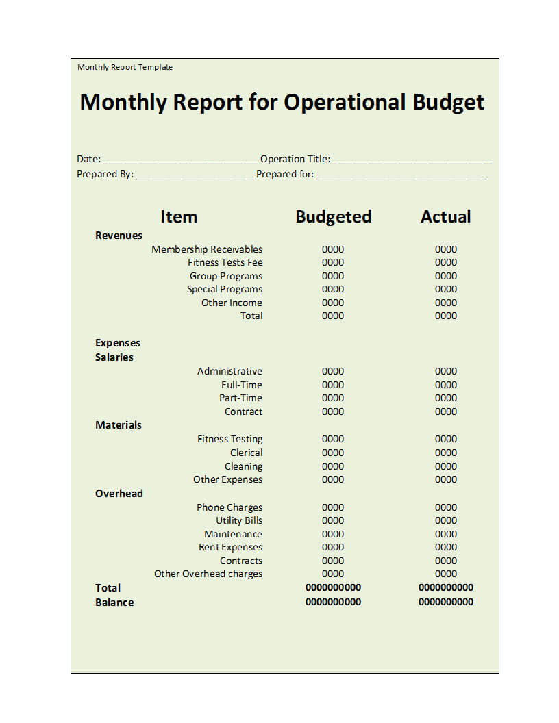 Monthly Report Template With Cleaning Report Template
