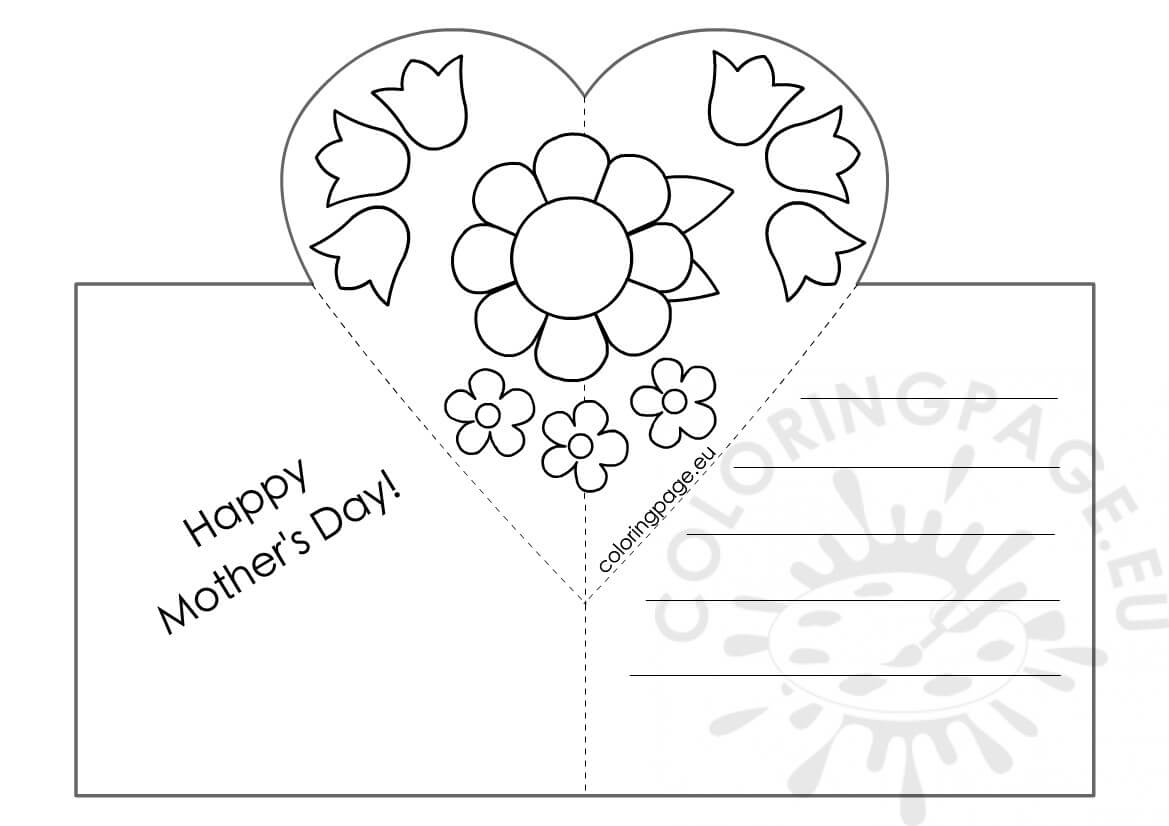 Mothers Day Card With Heart Pop Up Template – Coloring Page Throughout Mothers Day Card Templates