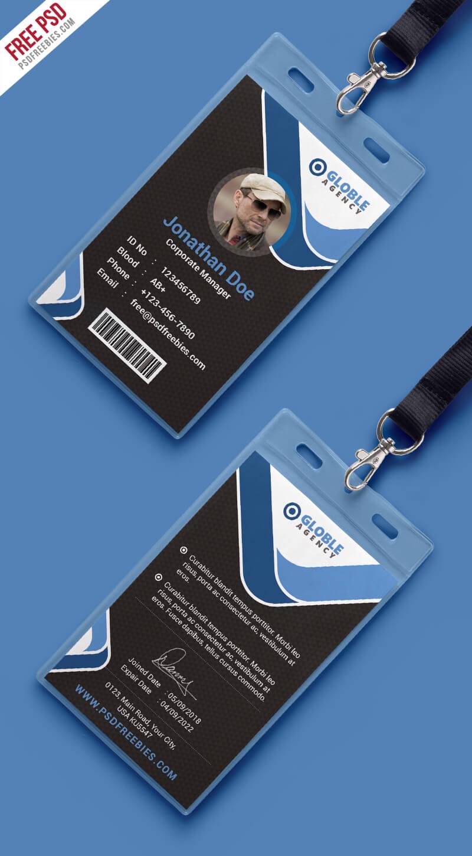 Multipurpose Dark Office Id Card Free Psd Template With Regard To College Id Card Template Psd