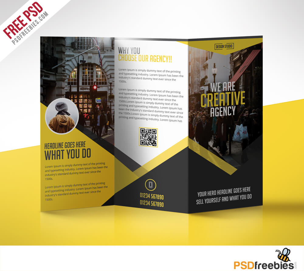 Multipurpose Trifold Business Brochure Free Psd Template Within 3 Fold Brochure Template Psd