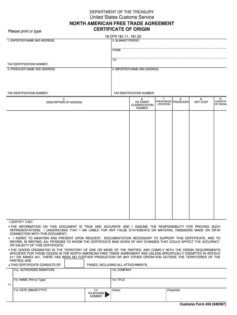 Nafta Certificate Of Origin - Fill Online, Printable Within Nafta Certificate Template