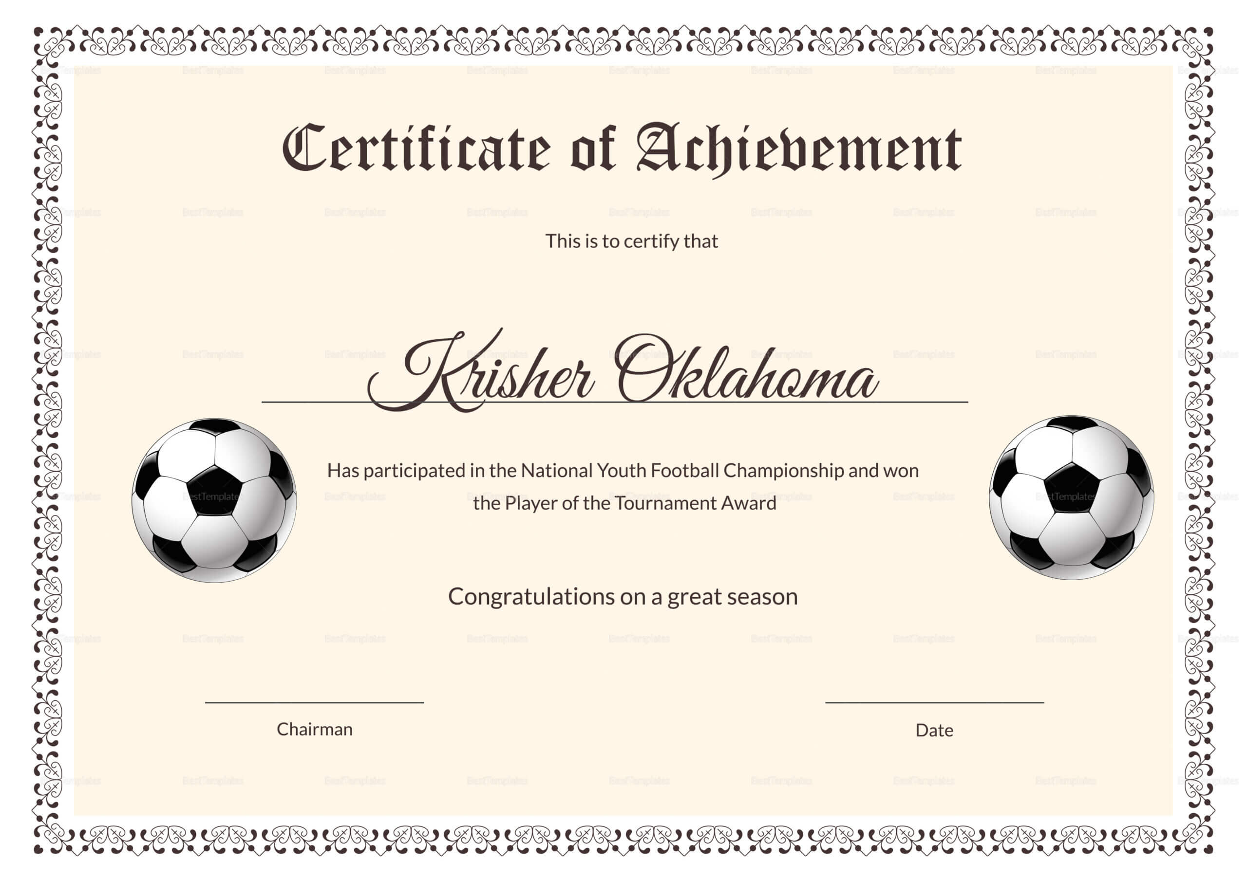 National Youth Football Certificate Template Inside Football Certificate Template