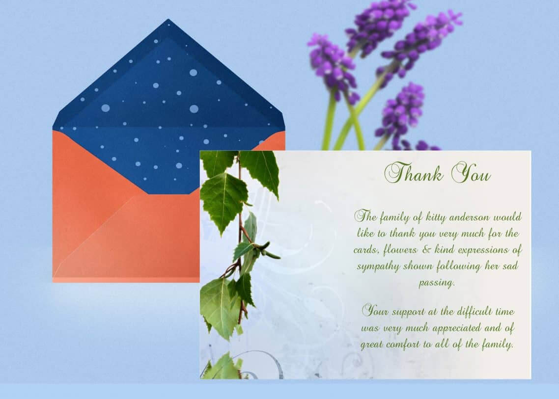 Natural Thank You Card Template In Sympathy Thank You Card Template