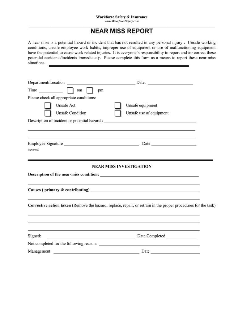 Near Miss Reporting Form - Fill Online, Printable, Fillable Pertaining To Near Miss Incident Report Template