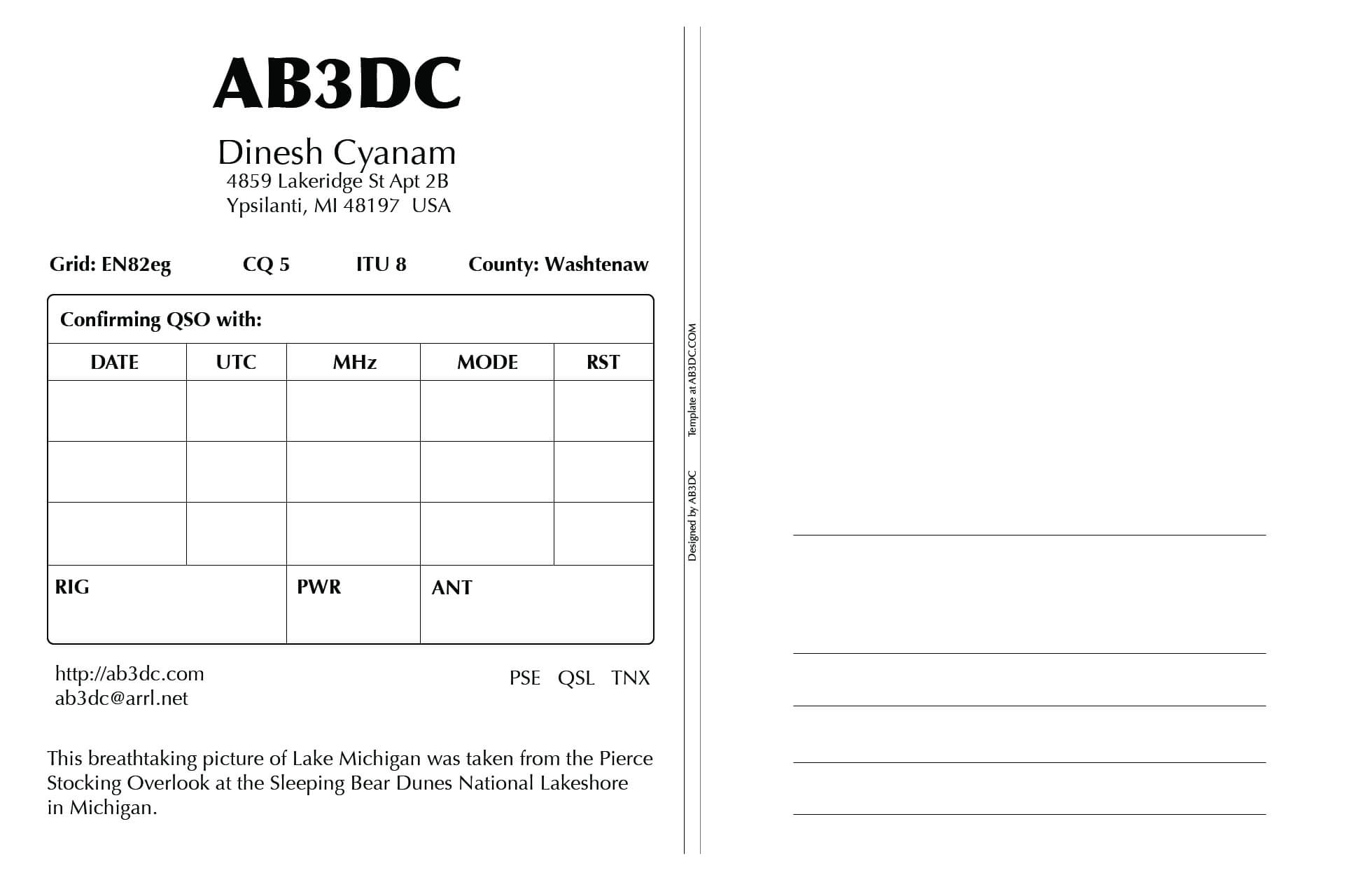 New Qsl Cards Design – Ab3Dc's Ham Radio Blog In Qsl Card Template