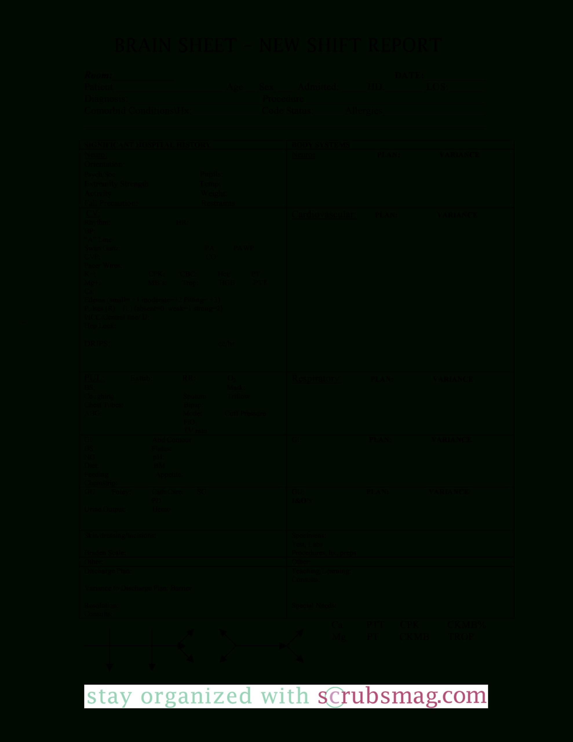 Nursing Brain Report Sheet   Templates At In Nursing Report Sheet Templates