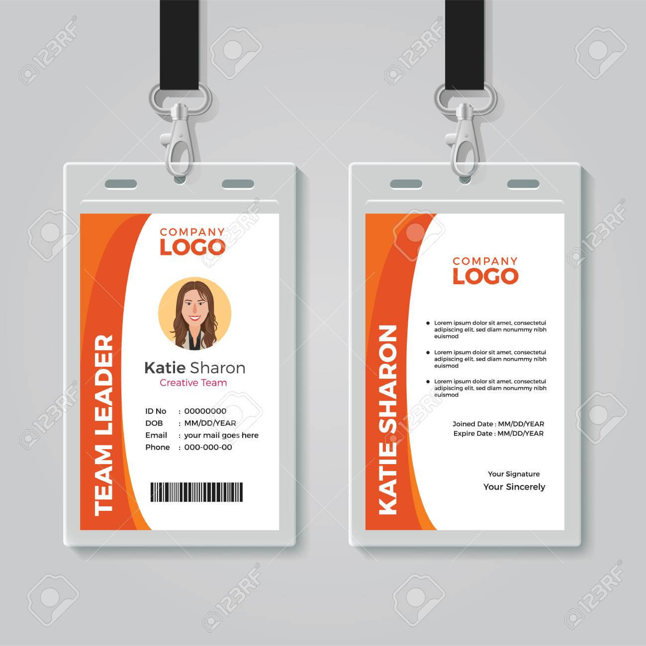 Orange And White Corporate Id Card Template Pertaining To Work Id Card Template