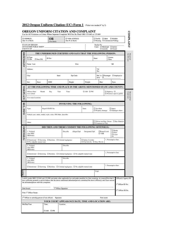 Oregon Uniform Citation - Fill Online, Printable, Fillable Throughout Blank Speeding Ticket Template