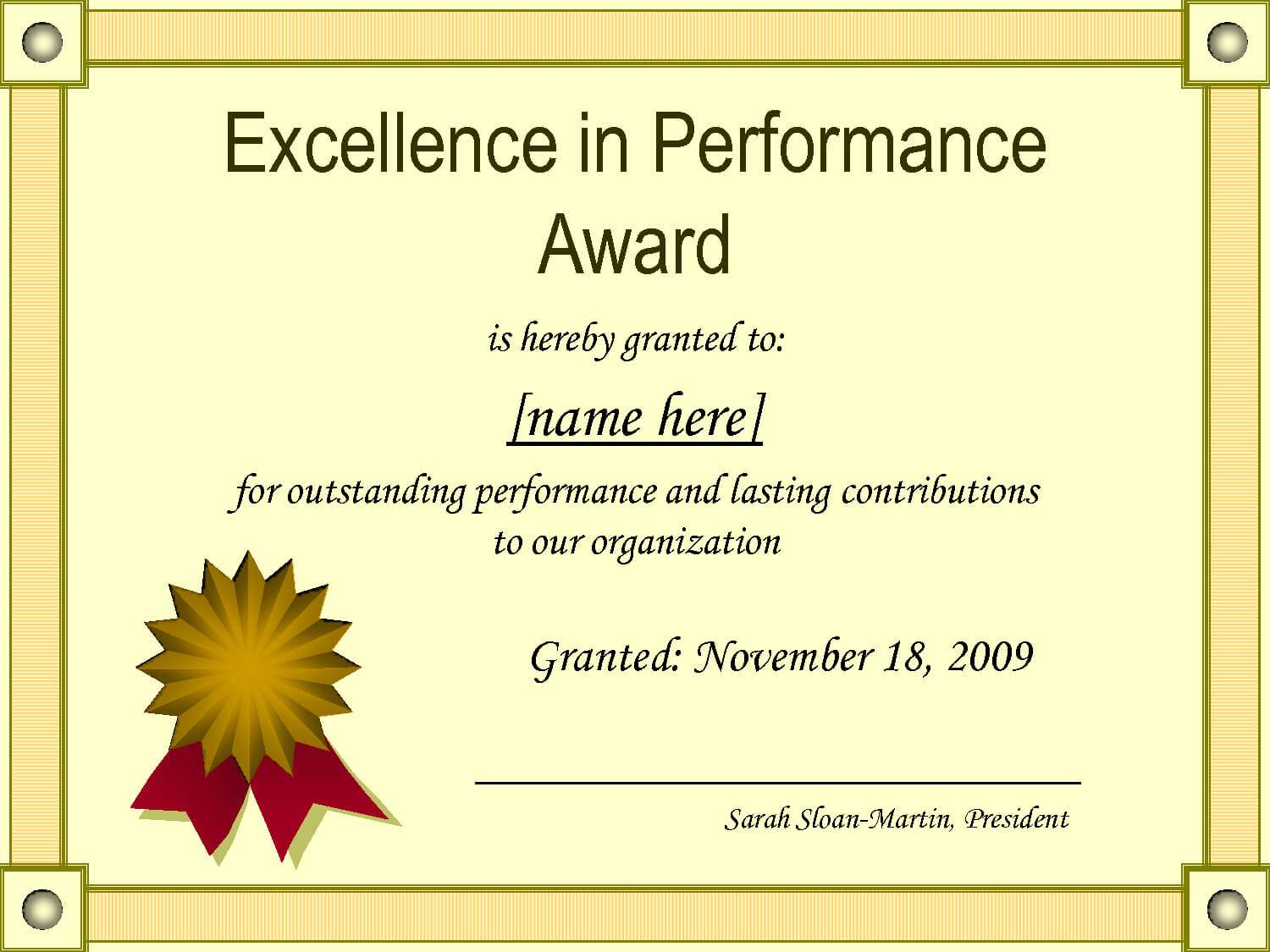 Outstanding Excellence In Performance Awards Certificate Within Best Performance Certificate Template