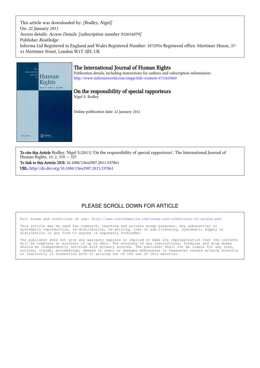 Pdf) On The Responsibility Of Special Rapporteurs With Rapporteur Report Template