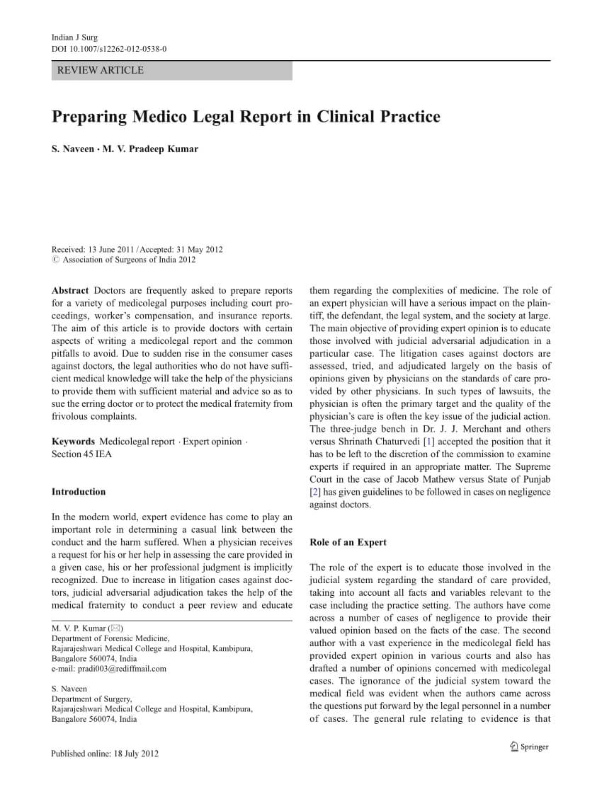 Pdf) Preparing Medico Legal Report In Clinical Practice For Medical Legal Report Template