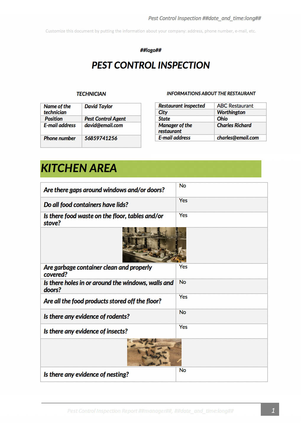 Pest Control Inspection With Kizeo Forms From Your Cellphone Intended For Pest Control Report Template