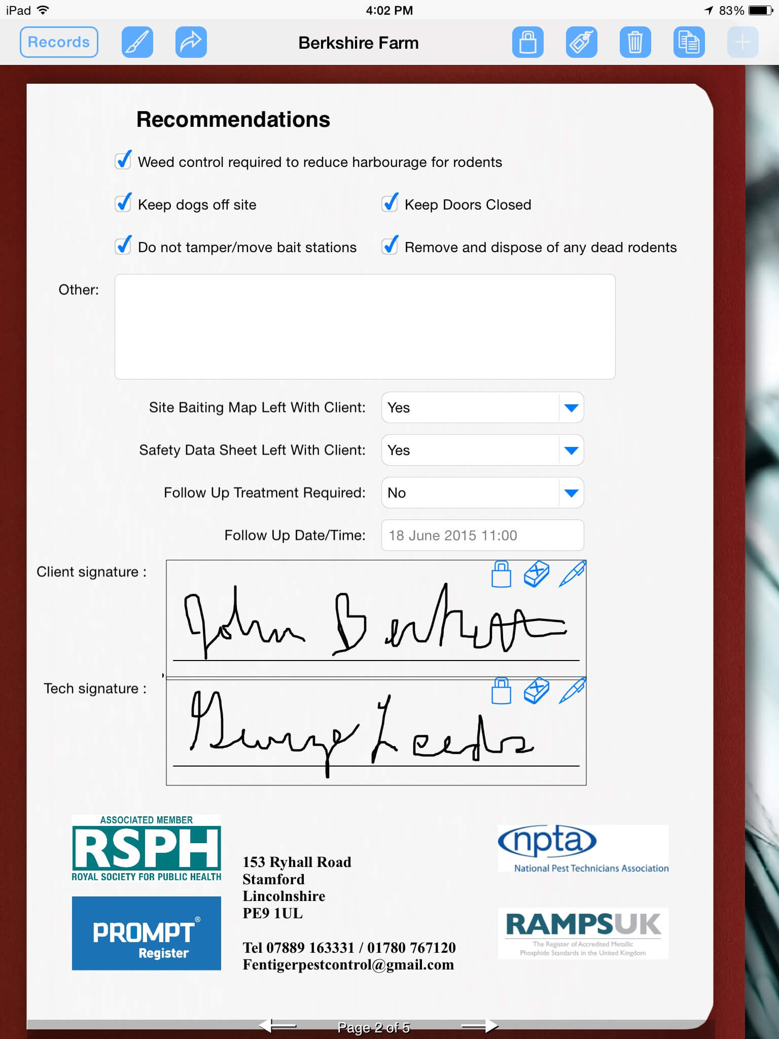 Pest Control Uses Ipad To Prepare Service Report | Form With Regard To Pest Control Inspection Report Template