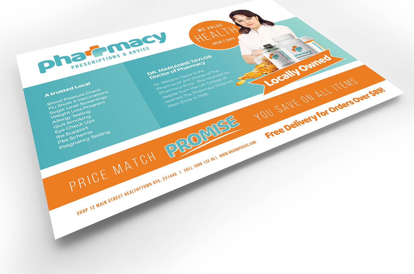 Pharmacy Flyer Template - Psd, Ai & Vector - Brandpacks Throughout Pharmacy Brochure Template Free