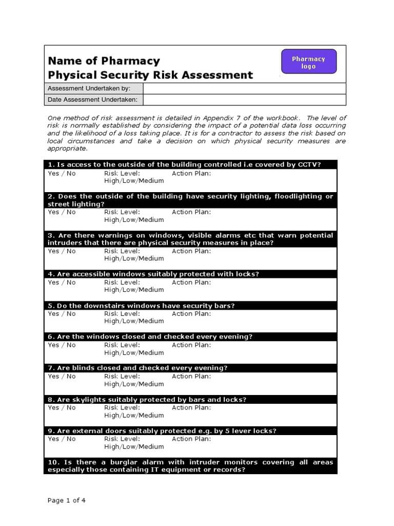 Physical Security Risk Assessment - Docshare.tips With Regard To Physical Security Risk Assessment Report Template