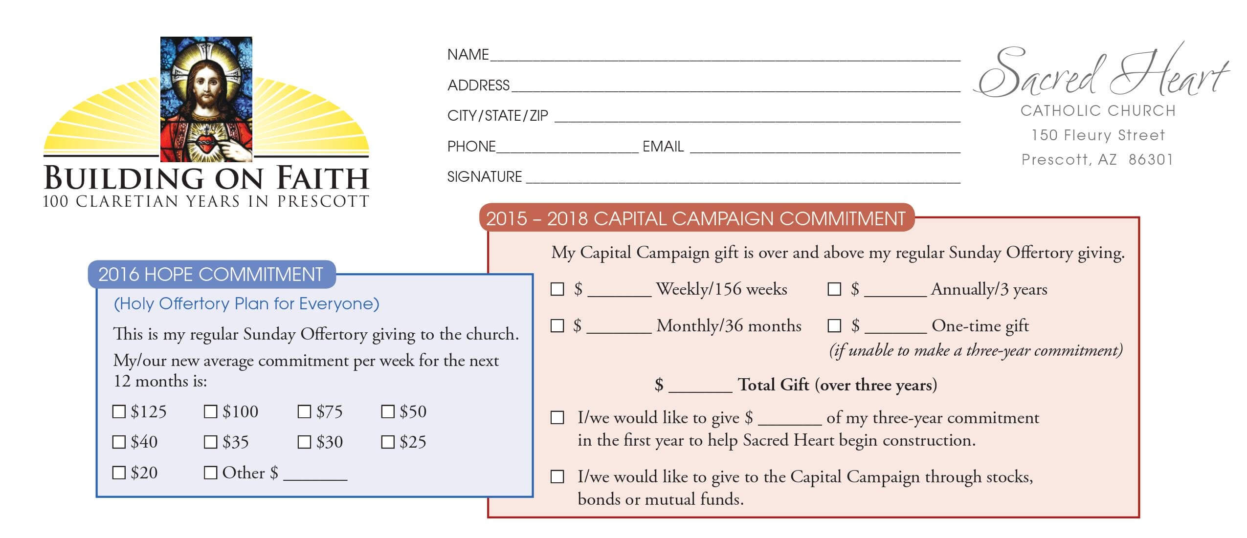 Pledge Card Sample - Yatay.horizonconsulting.co Throughout Building Fund Pledge Card Template