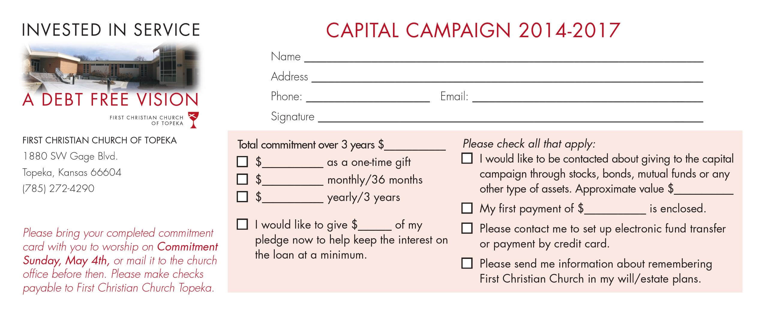 Pledge Card Sample – Yatay.horizonconsulting.co Within Fundraising Pledge Card Template