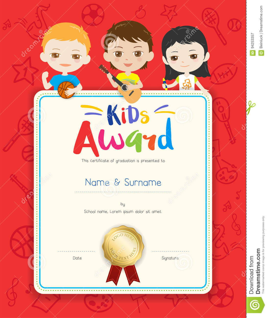 Portrait Colorful Kids Award Diploma Certificate Template In Within Certificate Of Achievement Template For Kids