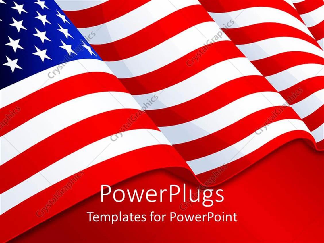 Powerpoint Template: American Flag Patriotic Background With Throughout American Flag Powerpoint Template